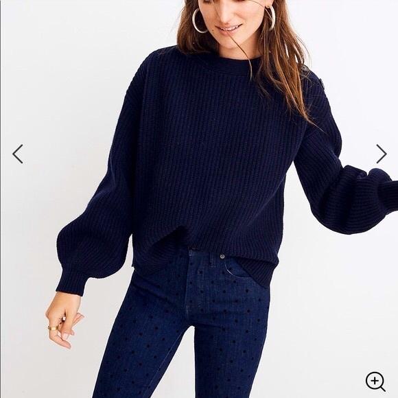 MADEWELL Boat Neck Button Shoulder Sweater, Medium